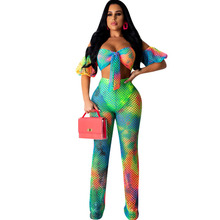 Summer new mesh print jumpsuit two-piece sexy club party tube top set