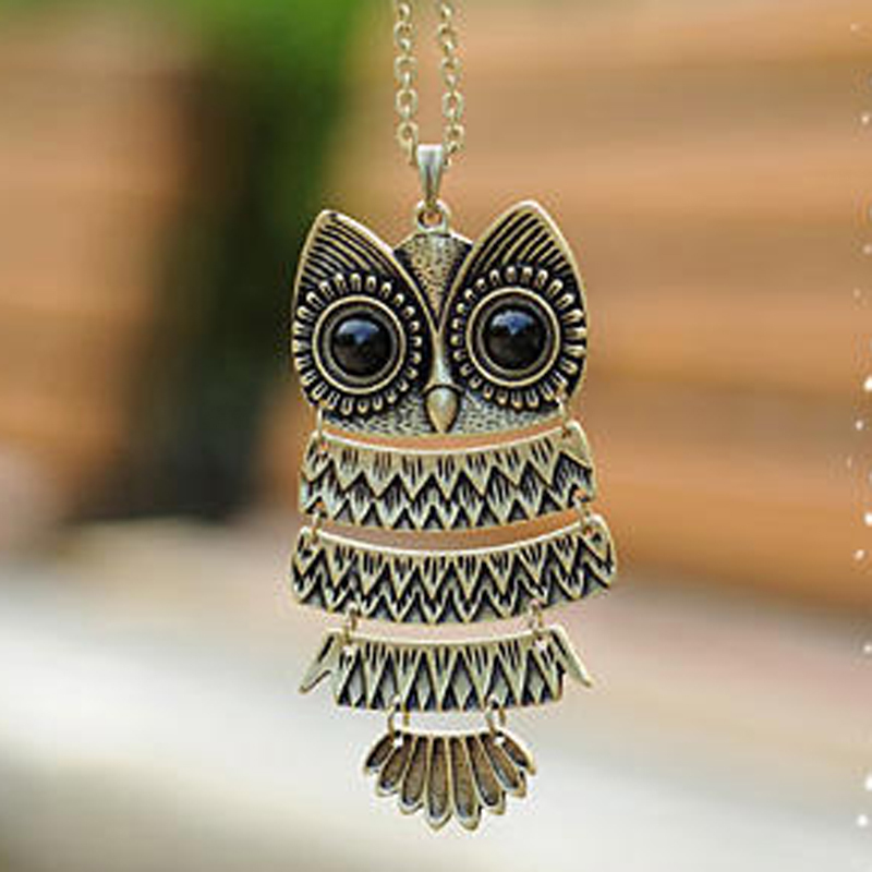 product 2015 New Fashion Hot-Selling Korea Adorn Article Ancient Bronze Owl NecklaceAncient The Owl Sweater Chain