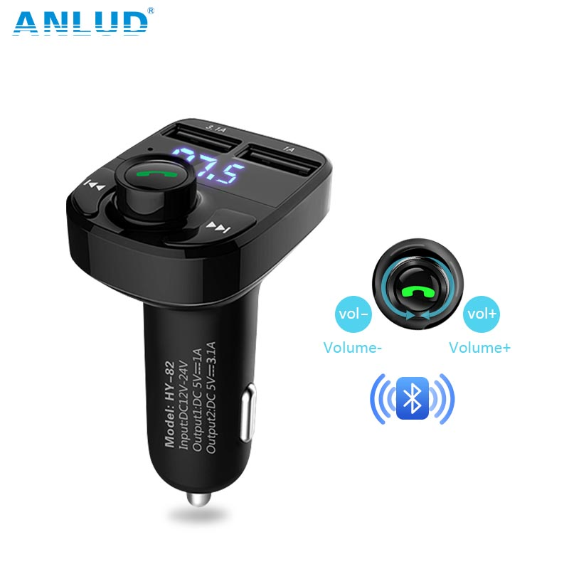 ANLUD Bluetooth Car Kit FM Transmitter Micro SD TF MP3 Music Play Wireless FM Modulator Dual USB Car Charging Handsfree Car Kit ...