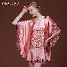 Top Sale Nightgowns Sleepshirts 2016 Silk Plus Size Home Bathrobe Female Women Sleepwear Dressing Gown Intimissimi Plus Size 6xl