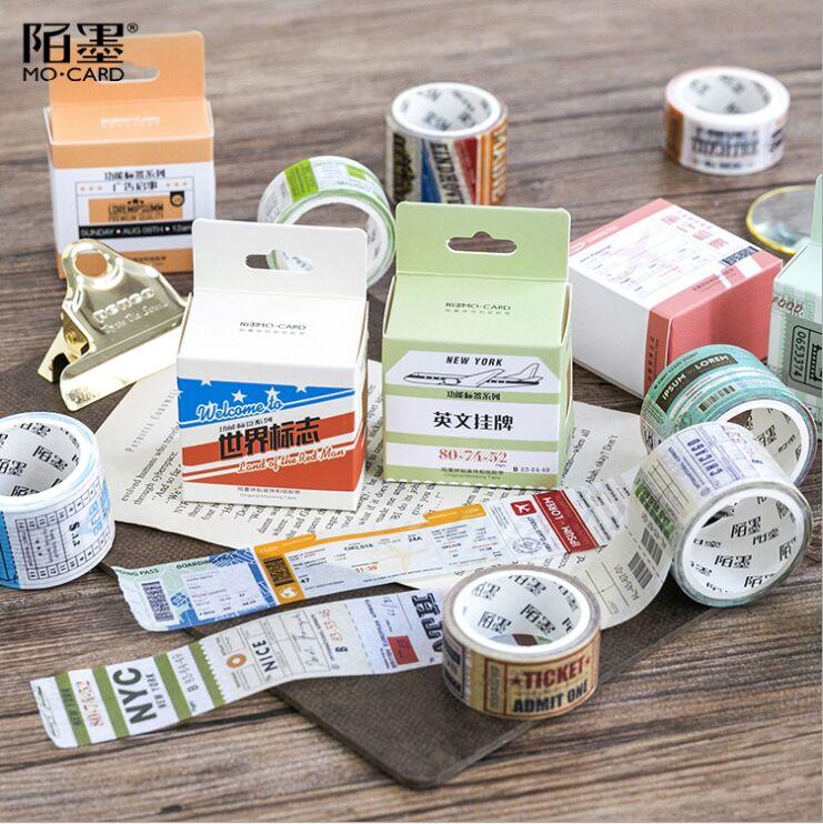 Vintage function label series Air tickets Goods Form Hangtag notice Decoration Washi Tape DIY Planner Scrapbooking Masking Tape