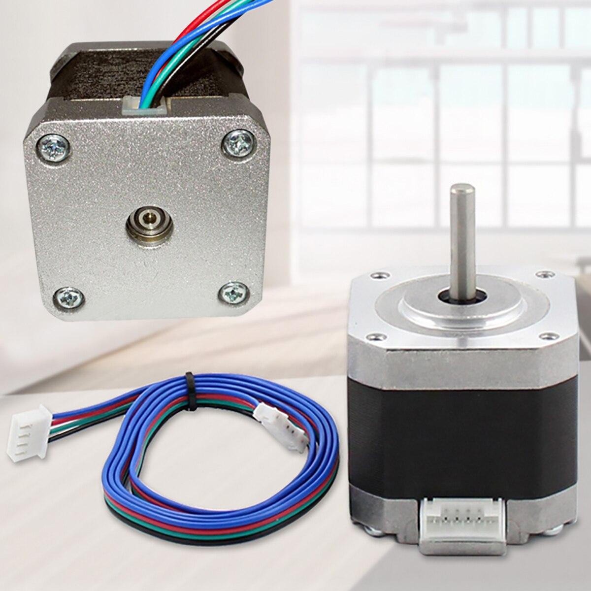 Durable NEMA17 42mm 2 Phase 4-wire Stepper Motor 5W 1.8 Degree 0-1500 RPM For 3D Printer CNC Robot Stage Lighting Mayitr nema17 1 8 degree 42mm 2 phase stepper motor fit adapter drive jk0220 for 3d printer cnc jk42hs40 1704