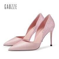 Gaozze натуральной/Змеиный шить острый носок босоножки шпильках сексуальные туфли лодочки на тонких высоких каблуках женские босоножки 2018 но