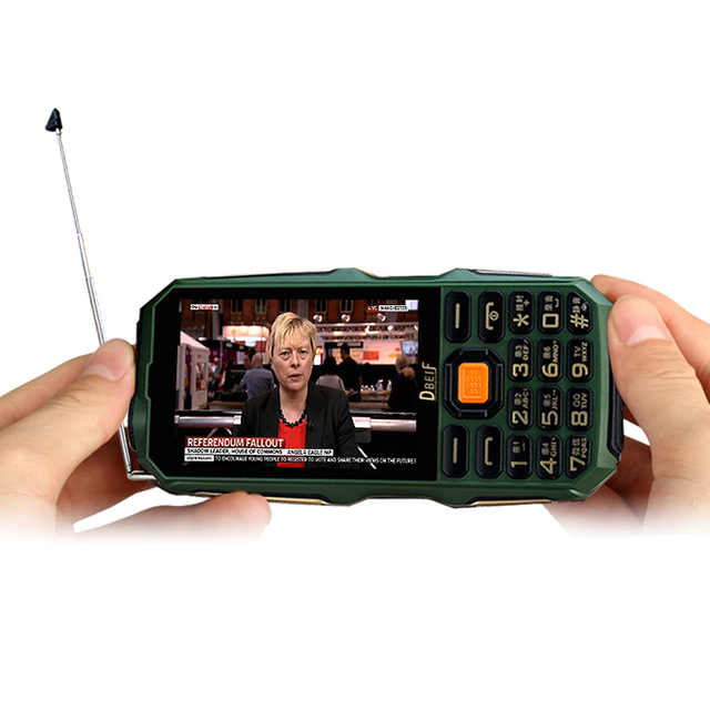 "DBEIF D2017 Antenna Analog TV 3.5"" handwriting touch screen 9800mAh flashlight power bank dual sim card FM mobile phone P291"