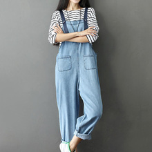 Fashion Women Denim Jumpsuit Ladies Loose Jeans Rompers Female Preppy style Plus Size Overall Playsuit With Pocket