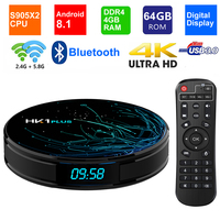 HK1 PLUS Smart TV BOX Android 8.1 S905X2 Quad core LPDDR4 4GB 64GB 2.4G/5G Dual WIFI USB 3.0 BT4.0 4K HDR H.265 Set top Box