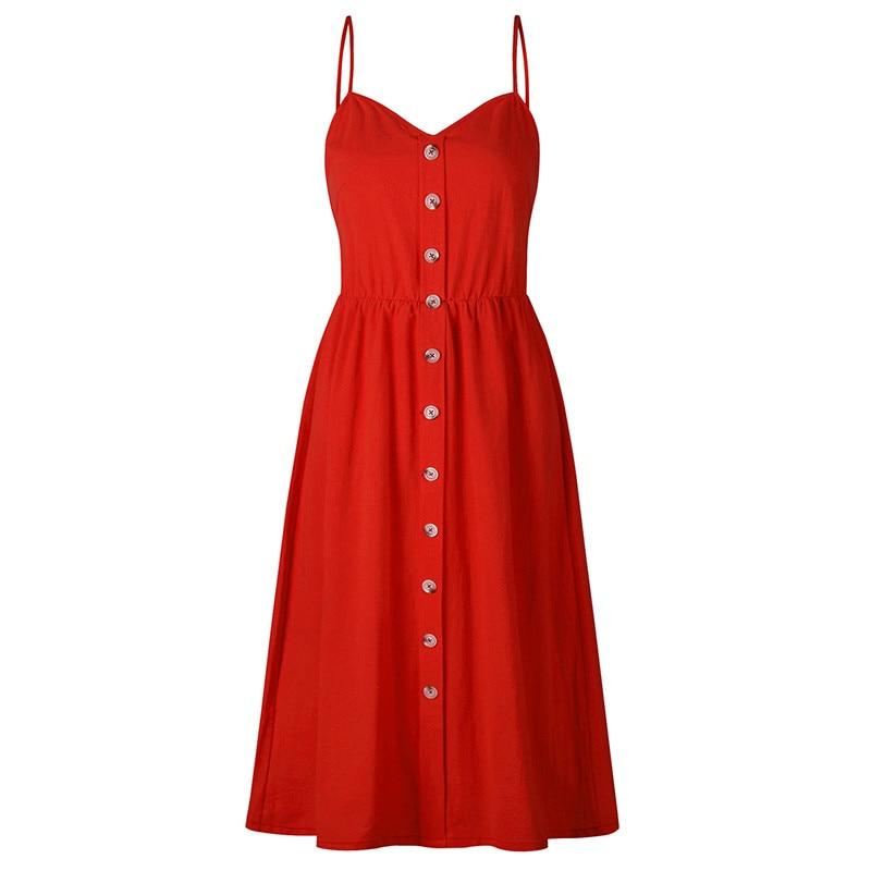 Solid button sexy casual summer strap dress Long boho beach women sundress vestidos Elegant daily dess female