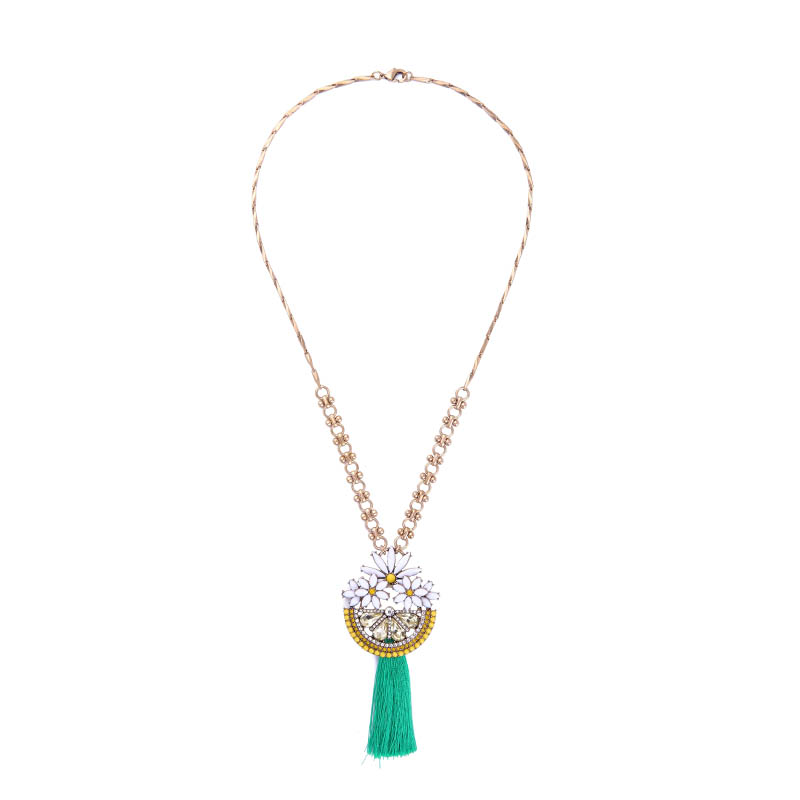 Green Tassel Line Resin Semicircle Daisy Statement Necklaces Bohemia Ethnic Pendants Necklace For Women Indian Jewelry