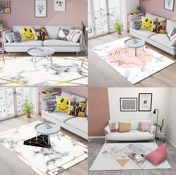 Alfombra de patrón de mármol geométrico nórdico para sala de estar alfombra sofá mesa de centro alfombra dormitorio Yoga almohadilla Rectangular manta de cabecera