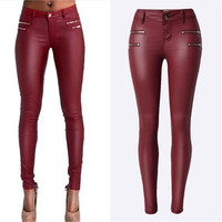 Hodisytian New Fashion Women Leather Pants PU Casual Low Waist Pencil Pants Skinny Elastic Pantalon Feminino Trousers Large Size