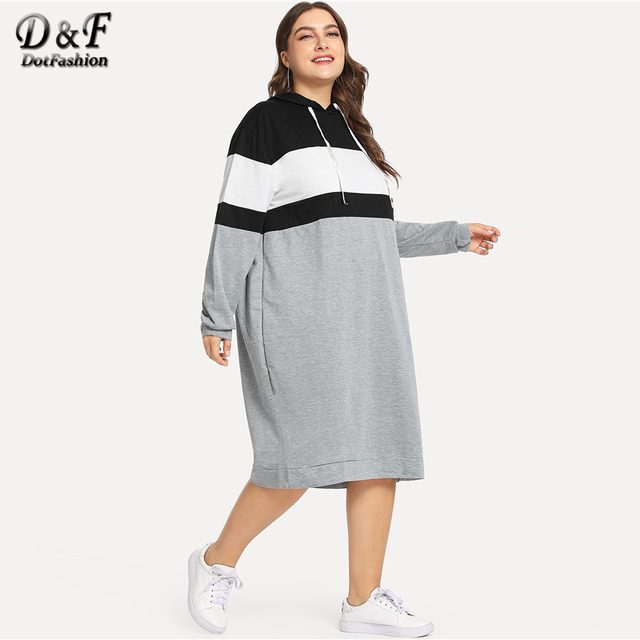 Dotfashion Plus Size Colorblock Drawstring Hooded Sweatshirt Dresses Womens Autumn 2019 Clothing Long Sleeve Knee Length Dress 3