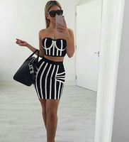 Women Bandage Black Dress Two Pieces Set Sexy Club Wear 2017 Summer Hot Selling Fashion Cocktail