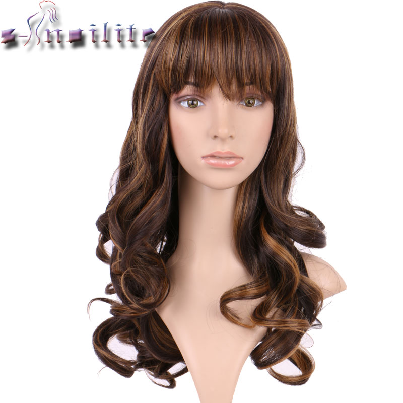 S-noilite 17 Inches Vogue Women New Long Curly Layer Cosplay Wig Costume Party Wigs Real Natural Synthetic Hairpieces