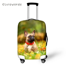 ELVISWORDS Protective Suitcase Cover Cute Bulldogs Print Pattern Elastic Dust-proof Luggage Waterproof Accessories