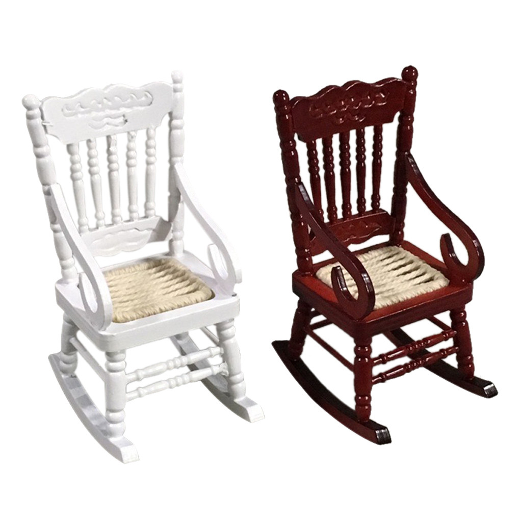 1:12 Dollhouse Shake Rocking Chair Model doll Miniature Furniture dollhouse Wooden Furniture Decoration collection Kids Toy C605