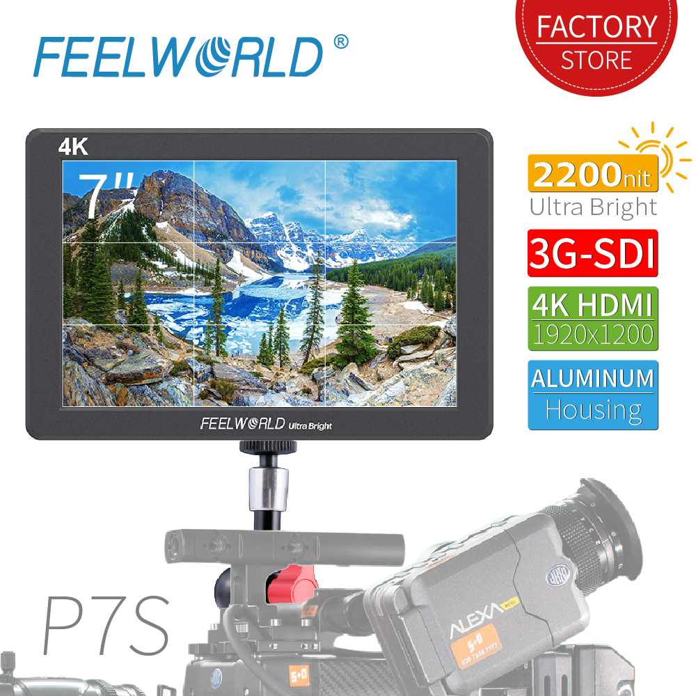 FEELWORLD P7S 7 Inch 2200nit Aluminum Housing Field Monitor 3G SDI 4K HDMI Monitor Full HD 1920x1200 IPS For DSLR Camera Outdoor