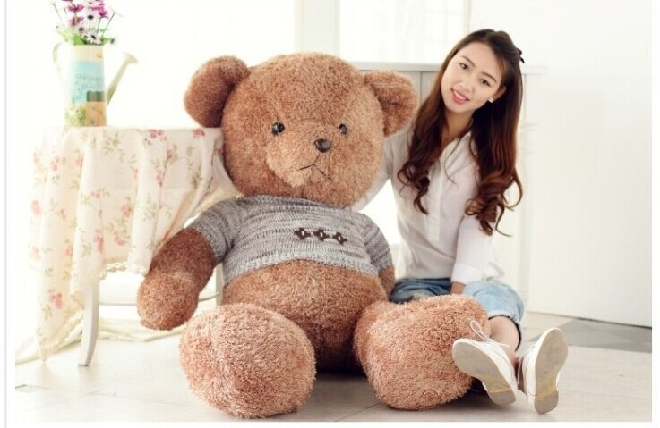 stuffed animal lovely teddy bear 130cm sweater bear plush toy soft throw pillow doll gift w3219 stuffed animal 120 cm cute love rabbit plush toy pink or purple floral love rabbit soft doll gift w2226