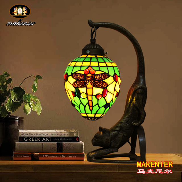 Makenier Vintage Tiffany Style Stained Glass Green Dragonfly Table Lamp With Cat Base 6 Inches