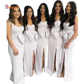 Scoop Leg Slit Sexy Long Maid of Honor Dresses Tank Sheath Waist Bow Bridemsaid Dresses robe demoiselle d'honneur D140