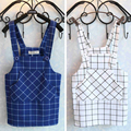 2017 Kid Childrens Girls plaid grid blue white pocket straps skirts