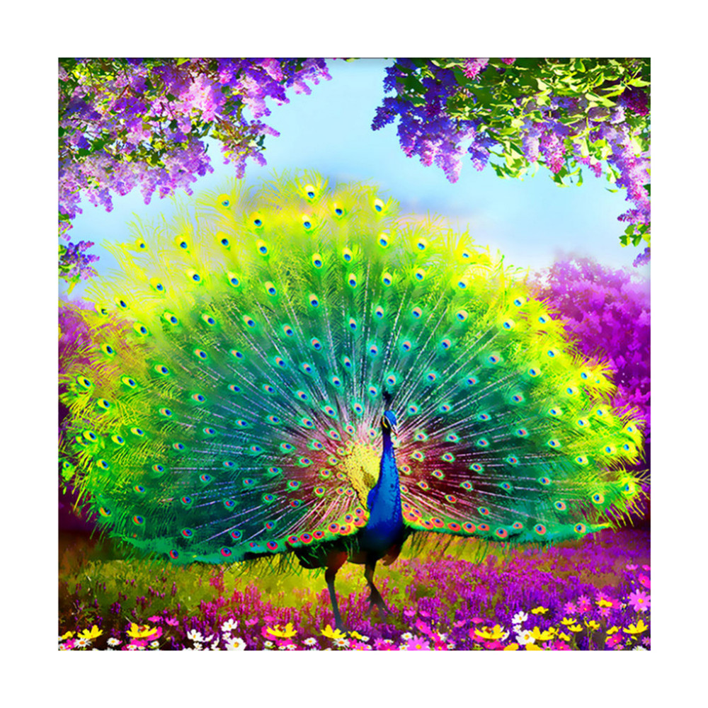 US $3 87 16% OFF|Newest! 7 Sizes Amazing Beautiful Green Peacock Spreading  Tail Diamond Embroidery DIY Painting Nice Mosaic Gift Home Decoration -in