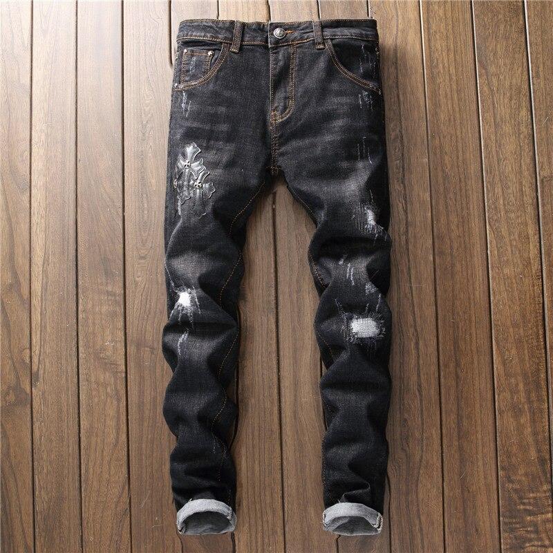 Дизайнер 2018 Для мужчин S Джинсы для женщин Вышивка молнии Мужская Мода Мотобрюки Байкер проблемных трек хип-хоп рваные черные брюки уличная