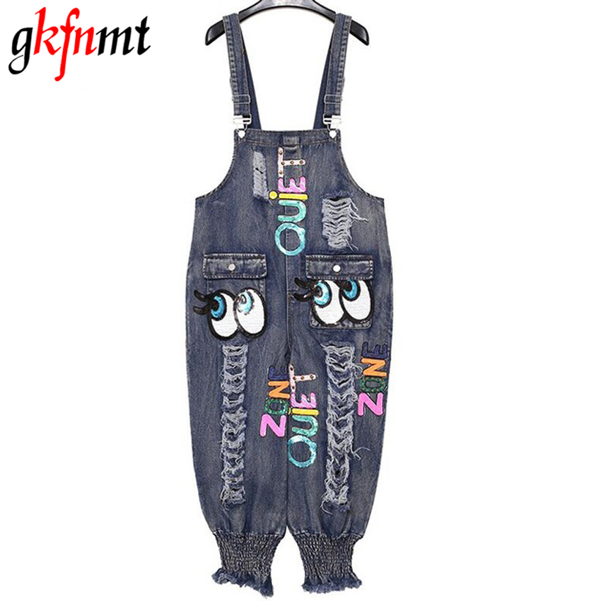 gkfnmt 2017 Women Embroidery Sequnis Letter Denim Suspenders Jumpsuits Ripped Jeans Overalls Casual Summer Pants Big Sizes gkfnmt 2017 women embroidery sequnis letter denim suspenders jumpsuits ripped jeans overalls casual summer pants big sizes
