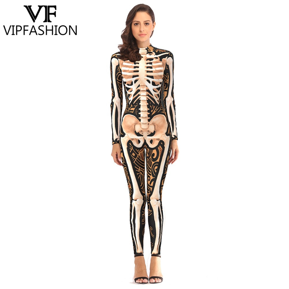 VIP FASHION 2019 New Products 3D Skeleton Print Rompers Halloween Costumes For Ladies Jumpsuit Sexy Bodysuits