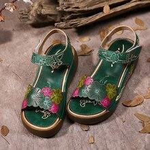 2017 ethnischen Stil Echtes Leder Frauen Sandalen Flache Plattform Mischfarbe Frauen Sommer Schuhe