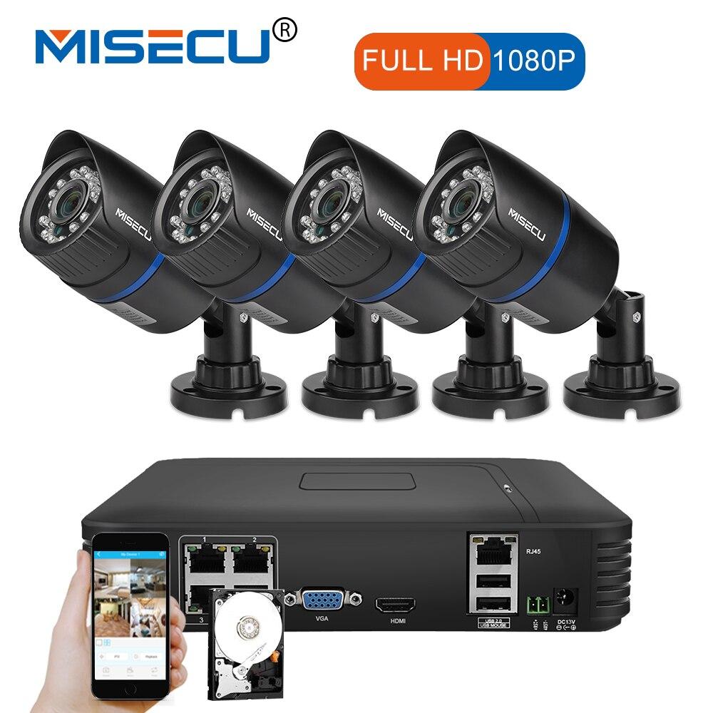 MISECU 1080 P POE NVR 4 шт. 2.0mp PoE IP ИК Камера P2P HDMI 1080 P 1 ТБ HDD CCTV видеонаблюдения ночного видения Открытый ПК и телефон