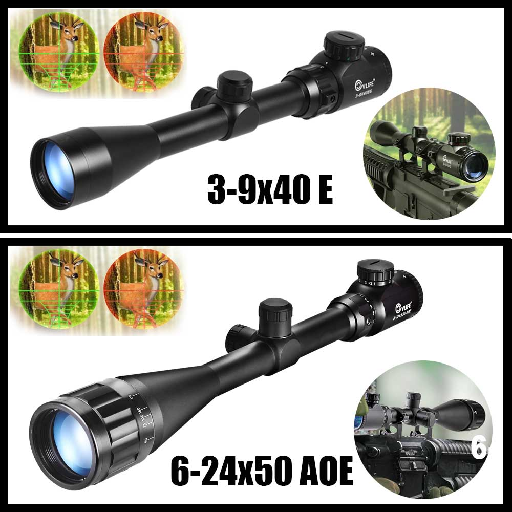 CVLIFE Tactical Rifle Scope 3-9X40 E / 6-24X50 AOE Red Green Illuminated Optics Hunting Scopes w/ 20mm Mounts hunting 3 9x40 optics illuminated tactical rifle scope