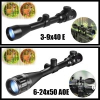 CVLIFE Tactical Rifle Scope 3 9X40 E / 6 24X50 AOE Red Green Illuminated Optics Hunting Scopes w/ 20mm Mounts