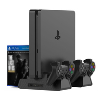 Multifunction Controller Charger Vertical Stand base Cooling Fan for PlayStation 4 Fat,PS4 Pro,PS4 Slim 14 Game CD Disc Storage
