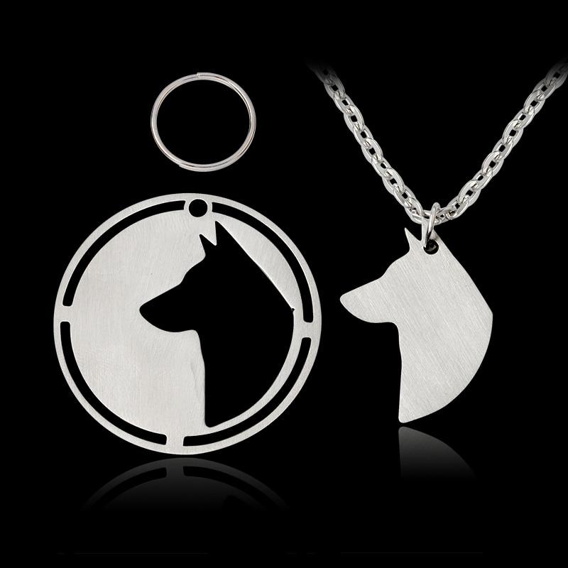 2 pcs/set Dog Tag German Shepherd Belgian Malinois Pendant Necklace For Dog Owner Women Men Silver Animal Jewelry Pet Gift