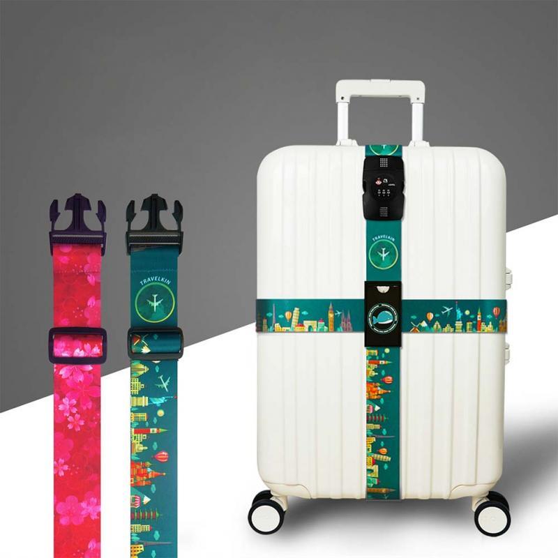 все цены на Colorful Luggage Strap Cross Packing Belt Adjustable Travel Suitcase Bundling Belt Protection Baggage Strap Travel Accessories онлайн