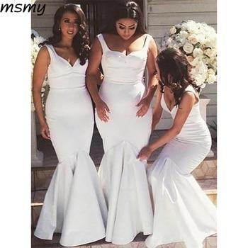 2019 Simple White Mermaid Sweetheart Bridesmaid Dresses Two Straps Sweetheart Cheap Long Bridesmaid Dresses Custom Made фото