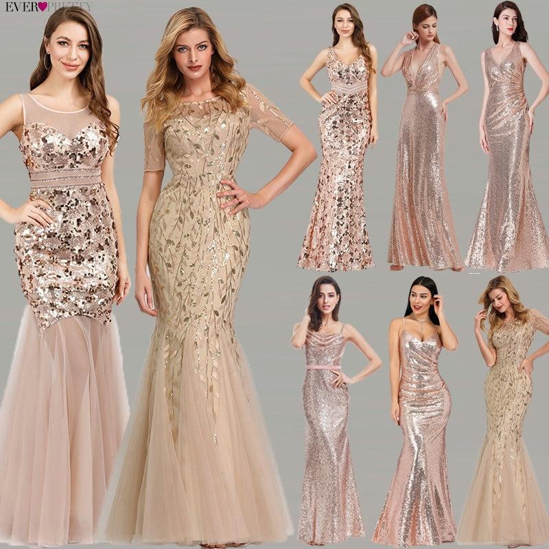 Plus Size Gold Sequined   Evening     Dresses   Ever Pretty Mermaid V-Neck Elegant Women Formal Party Long   Dresses   Abendkleider 2019