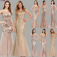 Plus Size Gold Sequined Evening Dresses Ever Pretty Mermaid V Neck Elegant Women Formal Party Long Dresses Abendkleider 2019