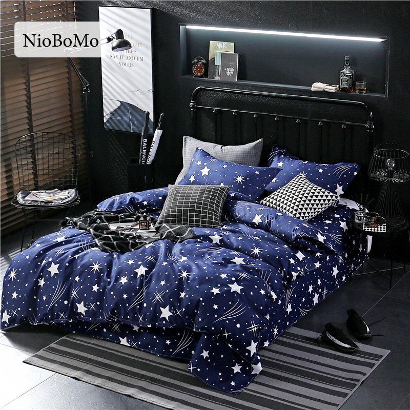 Niobomo Fashion Gypsophila Blue Bedding Set Elegant Duvet Cover Set And Pillowcase Active Printing Bed Cover Set Multi Sizes
