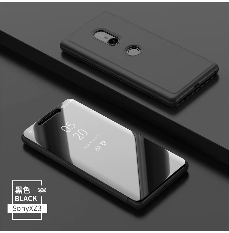 Luxury Glossy Clear View Standing Cover <font><b>Mirror</b></font> <font><b>Flip</b></font> Leather <font><b>Stand</b></font> <font><b>Phone</b></font> <font><b>Case</b></font> for <font><b>Sony</b></font> <font><b>Xperia</b></font> <font><b>XZ3</b></font> image