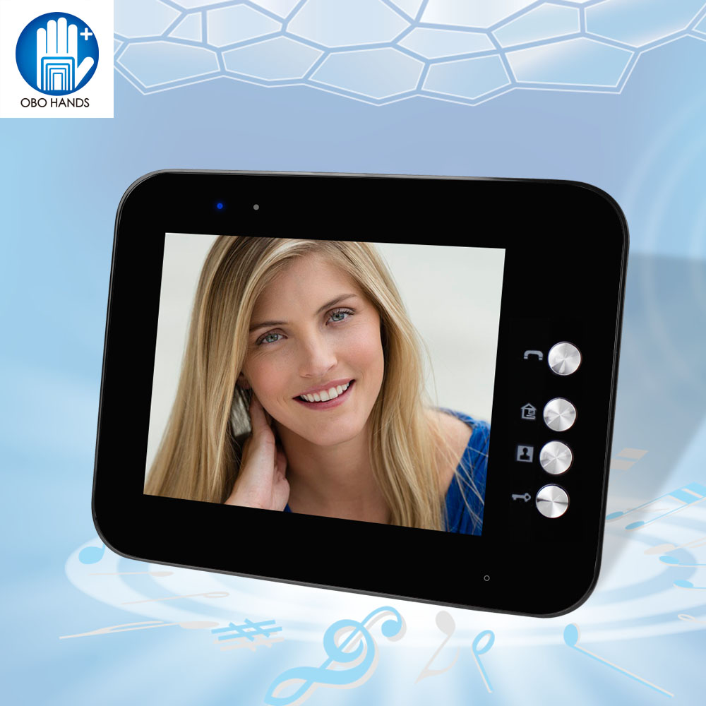 Black 8'' TFT LCD Color Video Door Phone Indoor Unit Monitor Screen Without IR COMS Outdoor Camera Doorbell For Intercom System 10 inch tft color video door phone intercom entry system black color video door bell monitor without outdoor camera high quality