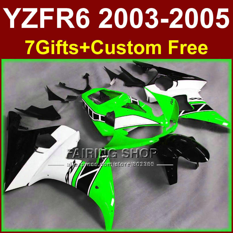 R6 custom fairing parts for YAMAHA r6 green white Motorcycle fairings sets 03 04 05 YZF R6 2003 2004 2005 fairing kits GU7D mfs motor motorcycle part front rear brake discs rotor for yamaha yzf r6 2003 2004 2005 yzfr6 03 04 05 gold