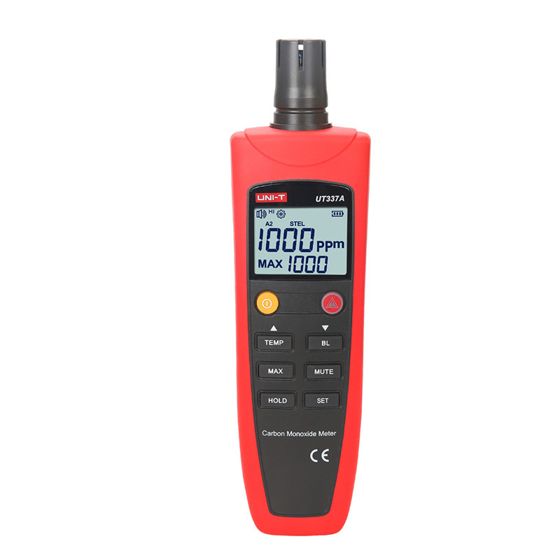 UNI-T UT337A Carbon Monoxide Meters Audiable Virtual LCD Display Temperature Tester Self Check CO Range 0~1000ppm CO Detector