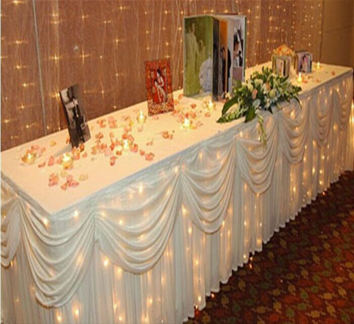 10ft29 3m075m wedding banquet table skirting white luxury table skirt with swag