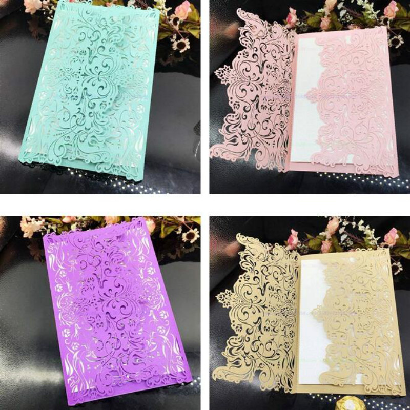 10 Pcs Laser Cut Rustic Wedding Invitations Card Blank Inner Page Vintage Floral Birthday Cards Accessories 7ZSH209 In From Home