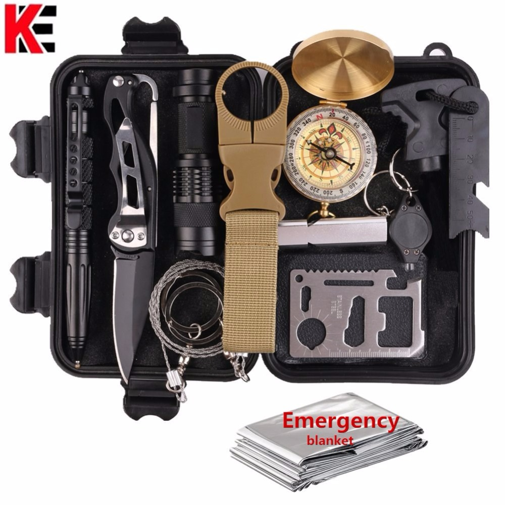 13 in 1 Outdoor survival kit Set Camping Travel Multifunction First aid SOS EDC Emergency Supplies Tactical for Wilderness tool цена и фото