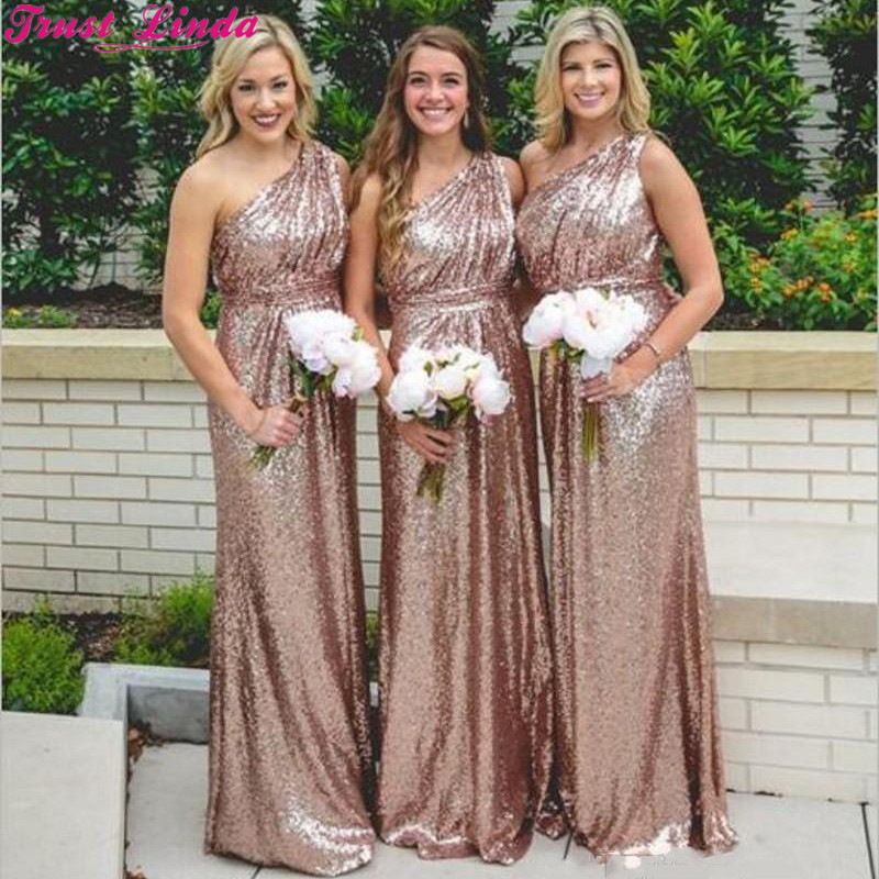 Rose Gold Sequins   Bridesmaid     Dresses   2018 Bling For Weddings One Shoulder A Line Long Floor Length Plus Size Maid of Honor Gowns