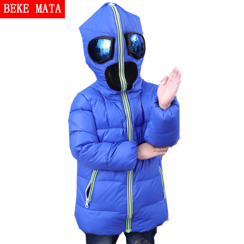 BEKEMATA Boys Winter Jacket With Glasses Hood 2016 Fashion Long Sleeve Kids Goose Down Jackets For Girls Children's Coats 4Y-10Y down jacket women 2017 korean long sleeve ladies down jackets larger medium long down women s winter jacket with a hood e0646