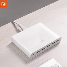 Original Xiaomi USB C 60W Charger Type C 6 พอร์ต USB QC 3.0 Quick Charge 18W X2 + 24W(5V = 2.4A MAX) สำหรับโทรศัพท์สมาร์ทแท็บเล็ต