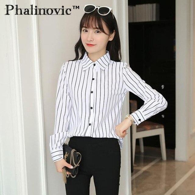 8a69cefe2bd Phalinovic 2017 осень-зима Для женщин Блузки для малышек Стильная белая  рубашка с черными полосами